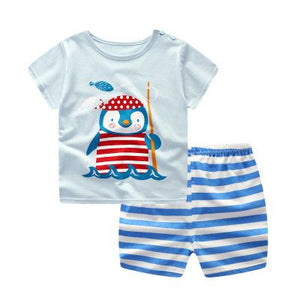 Fashion Baby Boy Sport Set Striped Infant Boy's Clothing Set Newborn-baby-clothes Short Sleeve-eosegal
