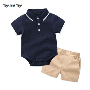 Top and Top Summer Toddler Baby Boys Clothing Sets Short Sleeve Bow Tie Shirt+Suspenders Shorts Pants Formal Gentleman Suits-eosegal