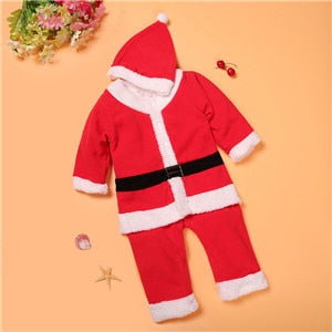 PPY-78,2018 Christmas Baby rompers Costume kids newborn clothes long sleeve spring children infant clothing set top+hat-eosegal