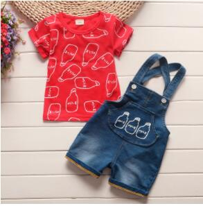 BibiCola summer baby boys clothing sets 2PCS cotton carton short sleeved+strap pants tracksuit clothes casual clothes set summer-eosegal