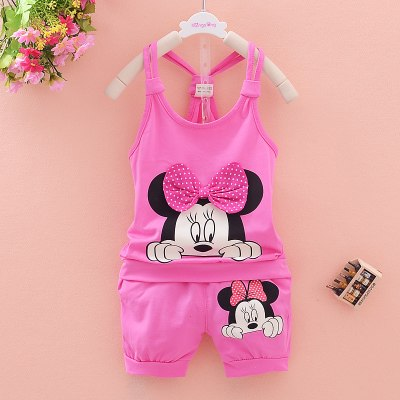 Vestidos 2016 New Summer Baby Girls Clothing Set Kid Sleeveless Shirt + Shorts 2pcs Suits Cartoon Minnie Brand Children Clothes-eosegal