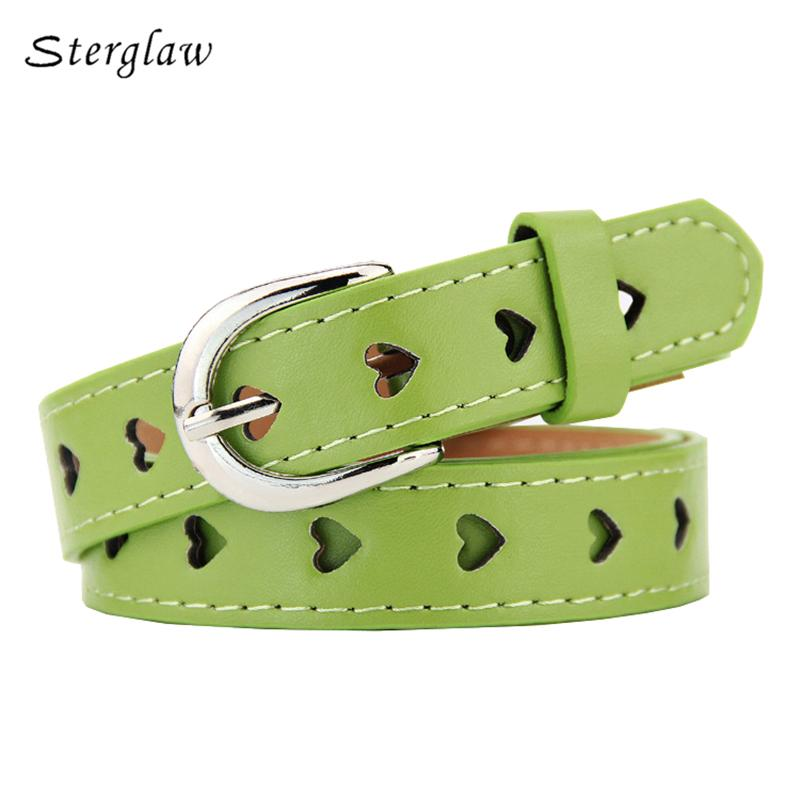 102cm Summer new Hollow heart wide belts for women 2018 fashion Candy colors female belt Children's belts and straps U127-eosegal