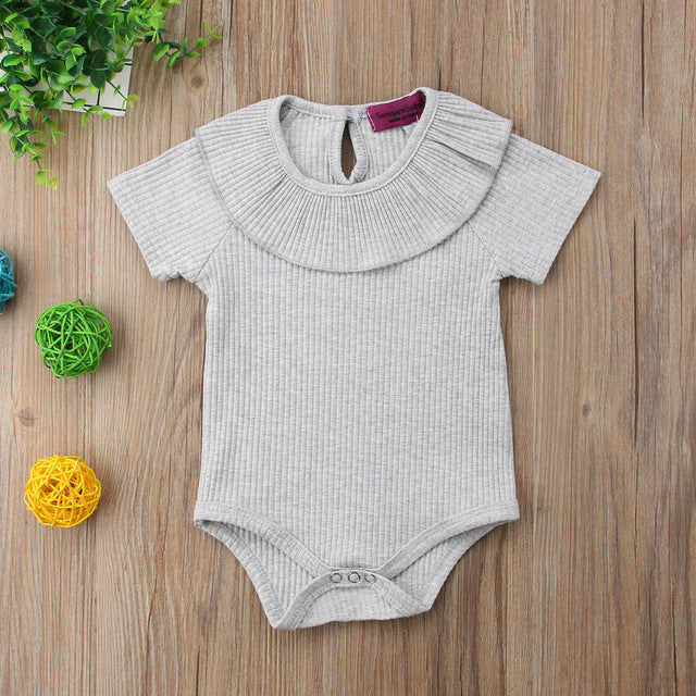 2018 Brand New Kid Infant Baby Girl Boy Collar Romper Jumpsuit Rib Clothes Outfit Summer Short Sleeve Solid Sunsuit Wholesale-eosegal