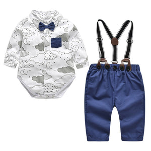 Newborn Baby Boy Clothes Formal Set 2018 New Style Cotton Bow Gentleman Toddler Boy Party Outfit Clothing Romper + Belt Pants-eosegal