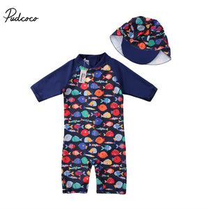 2018 Brand New Toddler Infant Kid Baby Boys Girls Swimsuit Swimwear Quick Dry Rash Guard Surfing Suit Fish 2pcs Set UPF 50+ 1-6T-eosegal