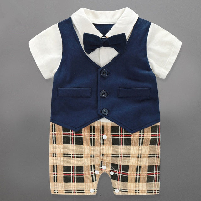 2017 Direct Selling Baby Rompers Gentleman Summer Clothing Set Cotton Bow Tie Costume Brand Infant Jumpsuit Newborn Boys Clothes-eosegal