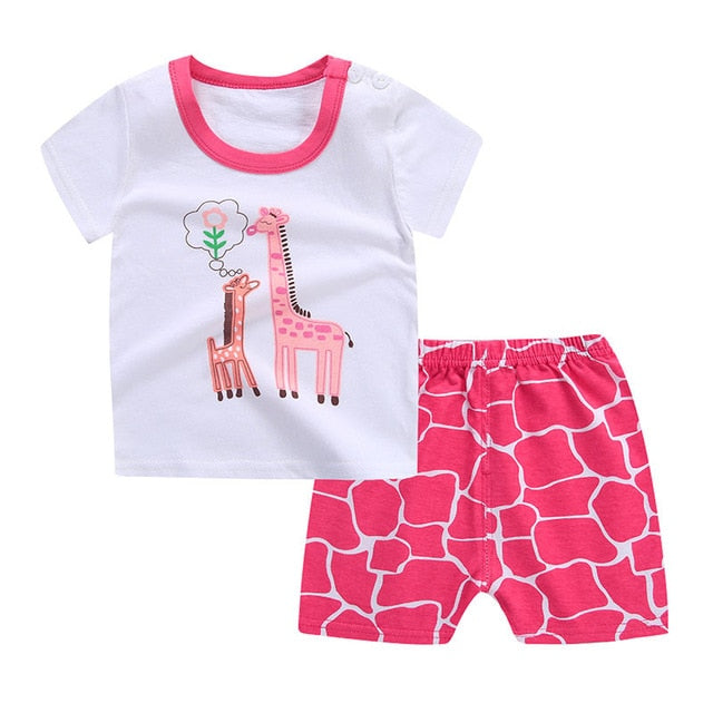 Cartoon Baby Boy Clothes Summer 2018 Newborn Baby Boy Clothes Set Cotton Baby Girl Clothing Suit Shirt+Pants Infant Clothes Set-eosegal