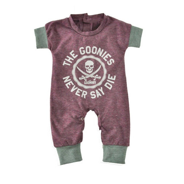 Newborn Baby Jumpsuits Summer Cartoon Skull Boys Girls Romper For Infant One-piece 2018 New Short Sleeve Letter Kids Baby Romper-eosegal