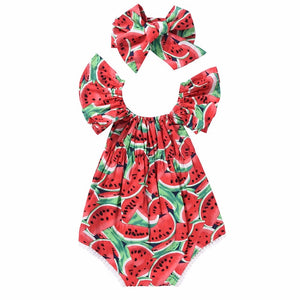 2018 Cute Newborn Kids Baby Girl Clothes Short Flare Sleeve Watermelon Print Bodysuit Headband 2Pcs Set Summer Clothing Outfits-eosegal