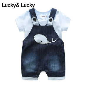 Bebes newborn clothes cotton letter printed t-shirt with demin overalls baby boys clothes summer children clothing-eosegal