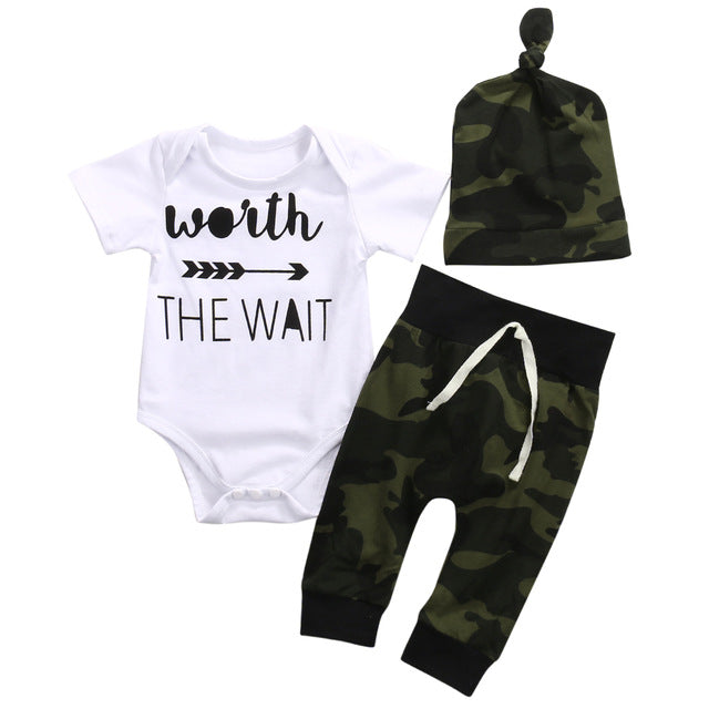 2017 Army Green Newborn Baby Girl Boy Clothes Romper T-Shirt Long Pants And Hat Outfits 3Pcs-eosegal