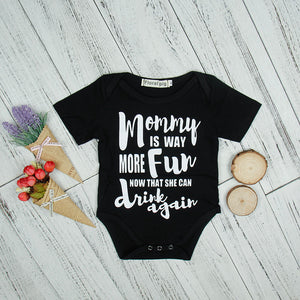 Back Short Sleeve Baby Bodysuit 2018 Funny Mommy IS WAY MORE FUN Letter Printed Newborn Girl Boy Clothes Tiny Cottons Costume-eosegal