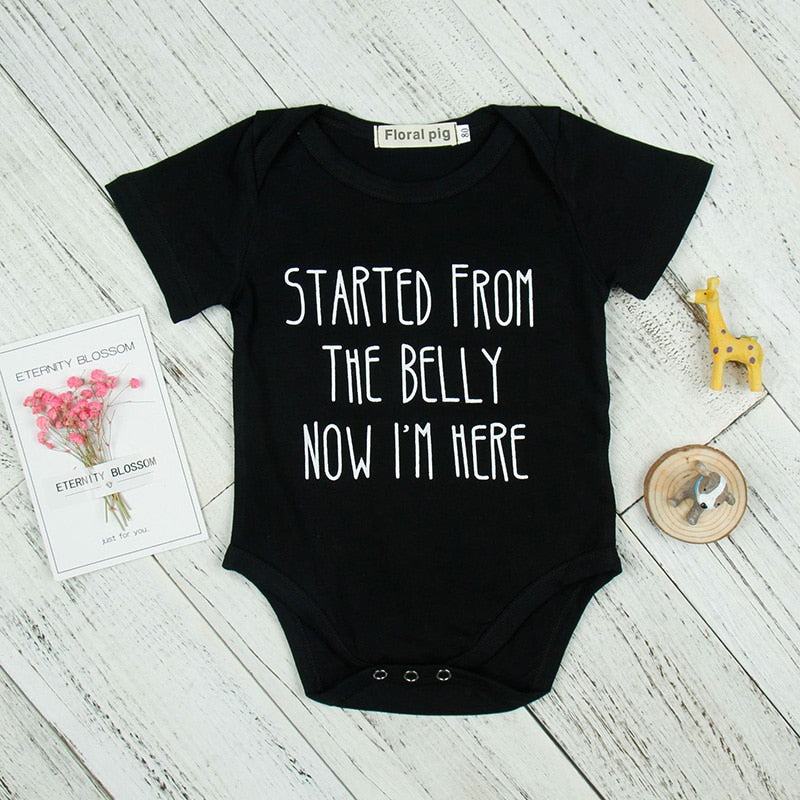 Hot Black Short Sleeve Baby Bodysuit 2018 Tiny Cottons Newborn Girl Boy Clothes Funny Cute Letter Printed Costume Onesie-eosegal