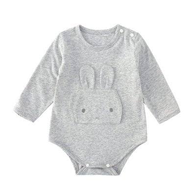 Pureborn Baby Bodysuit Solid Cute Bunny Newborn Baby Clothing Long Sleeve Cotton Girls Boys Clothes Jumpsuit Infant Costumes New-eosegal