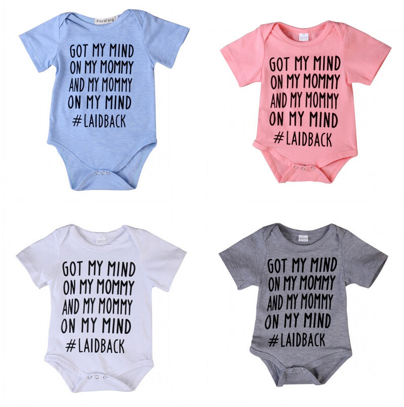4Color Newborn Baby Romper GOT MY MIND Letter Printed Jumpsuit Short Sleeve Cotton Clothes Outfits Sunsuit-eosegal