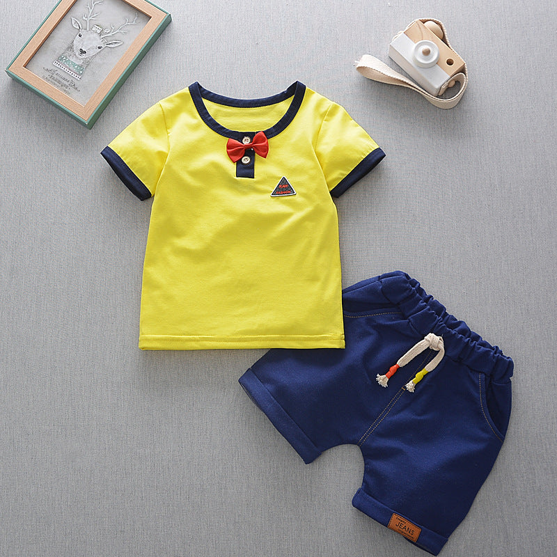 BibiCola 2pcs suit baby boy clothes toddler infant kids clothing bebe t-shirt+ shorts pants sport suit child summer clothing set-eosegal