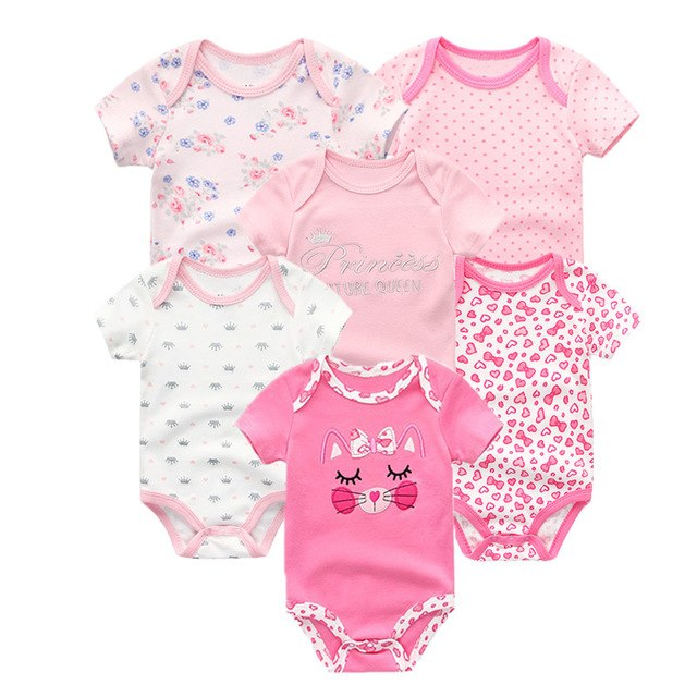 6 PCS/Lot Newbron 2018 Summer Short Sleeve Baby Girl Bodysuits 100% Cotton Baby Boy Jumpsuit Girls Ropa bebe Baby Clothing Sets-eosegal