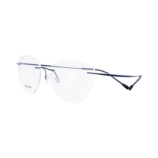Titanium Rimless Cat Eye Shape Optical Eyeglasses Frame for Women and Meneosegal-eosegal