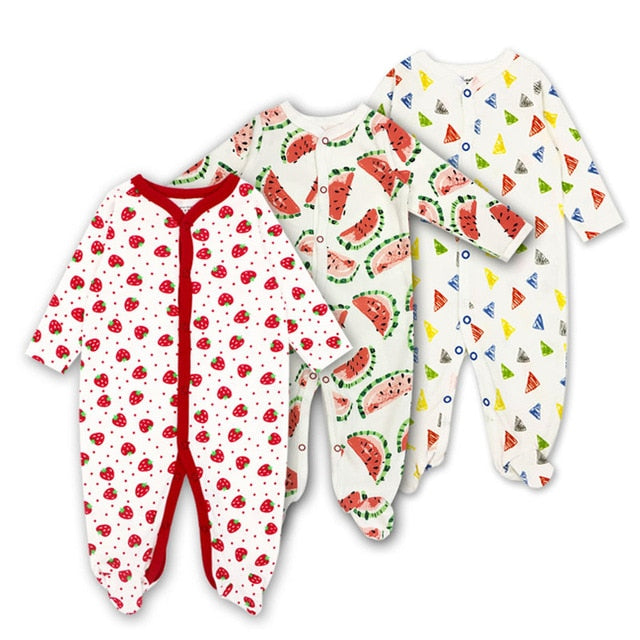 Baby rompers Newborn Baby Girls Boys Clothes 100% Cotton Long Sleeves Baby Pajamas Cartoon Printed 3pieces/lot Baby's Sets-eosegal