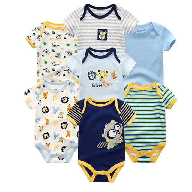 7 PCS/lot 2018 summer short sleeve baby rompers set cotton baby jumpsuit boy girl set ropa bebe baby boy girl clothes-eosegal