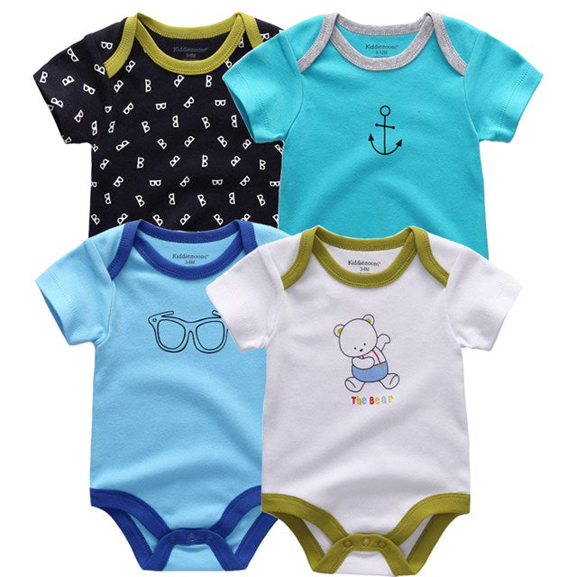Kiddiezoom Brand Animal Short Sleeve infant rompers 4 PCS/lot children boy girls clothes cotton Roupas Newborn costume-eosegal