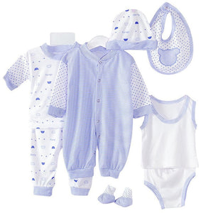 2017 New Brand 8Pcs Newborn Infant Kids Baby Boy Girl T-shirt Tops Pants Outfits Clothes 8Pcs Set 0-3M-eosegal