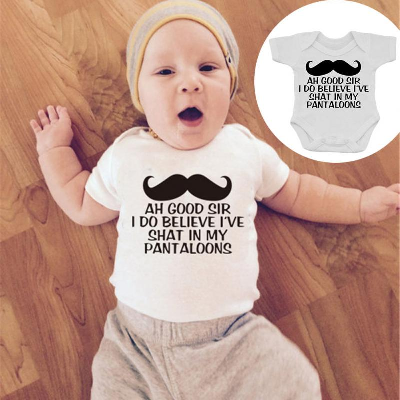 2018 NEW HOT SALES Kids Baby Girl Boys Cotton Bodysuit Mustache Letter Printing Jumpsuit Clothes-eosegal