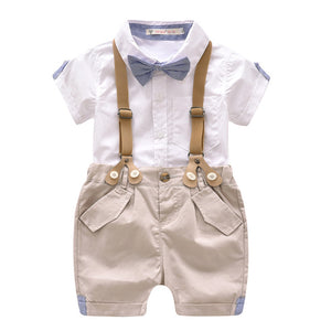 Summer Baby Boy Gentleman Clothes Set Infant Short Tshirt+Suspender Clothing Sets Toddler Formal Wedding Party Costume Suit 2pcs-eosegal