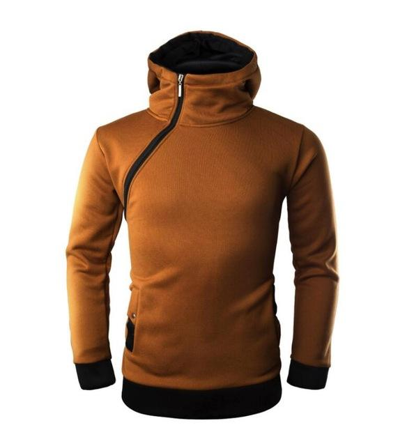 High Grade Men Hoodies 2018 Brand Fashion Oblique Zipper Patch Color Hoodieseosegal-eosegal