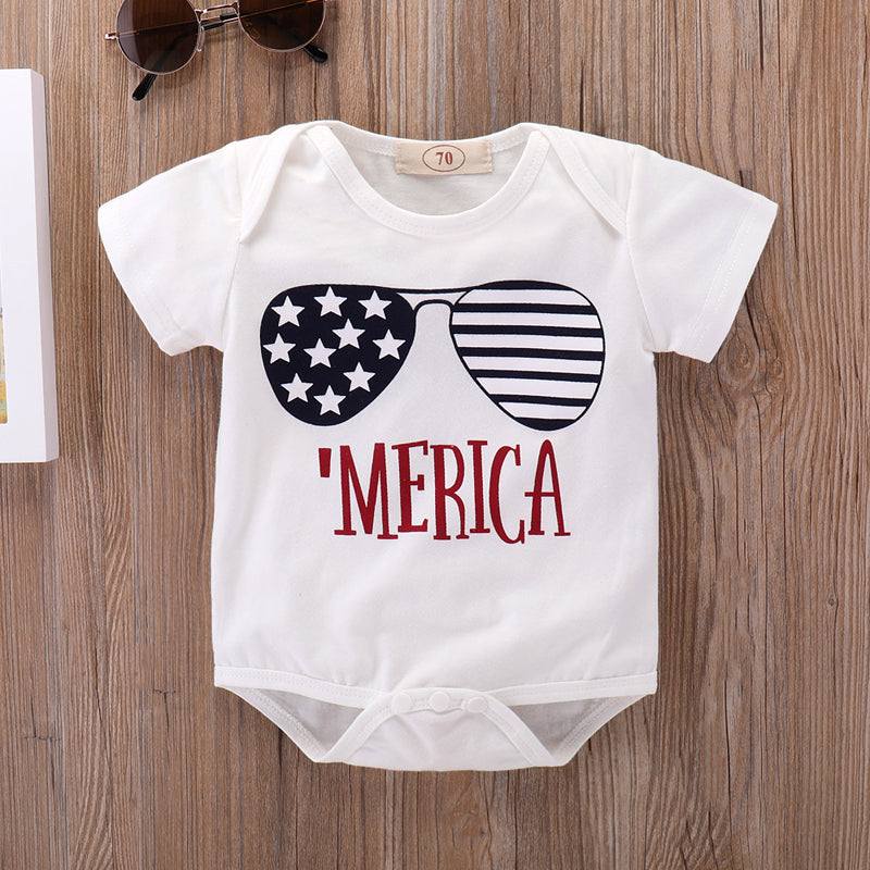 4th of July Newborn Girls Bodysuits Stripes Star Print Baby Boys Sunsuits Onesie Summer White Short Sleeve Infant Overalls 0-18M-eosegal