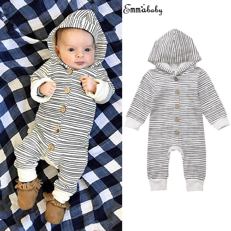 Toddler Lovely Infant Baby Girls Boys Hoodie Clothes Striped Romper Long Sleeve Jumpsuit Tracksuit Outfits Pajamas Clothing-eosegal