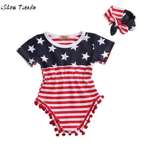 Newborn Baby Bodysuit Boy Girl 4th Of July Star and Cute Tassel Short Sleeve Stripe Headband Clothes Outfit Mickey Body Bebe-eosegal