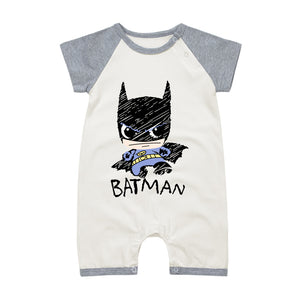 Newborn Baby O-neck Rompers Summer Baby Boy Clothes Superman Batman Cotton Infant Jumpsuits Clothing Set Short Sleeve Overalls-eosegal