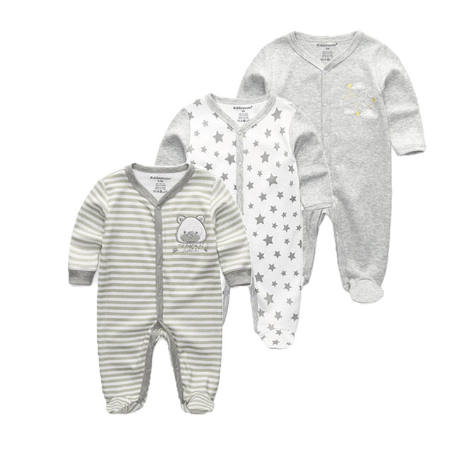 3 PCS/lot newbron winter Baby Rompers Long Sleeve set cotton baby junmpsuit girls baby boy girl clothes-eosegal