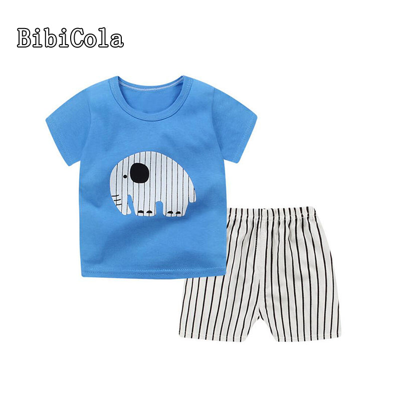 BibiCola Summer Baby Boy Clothes Newborn Baby Boys Clothes Set Cotton Baby Clothing Suit Shirt+Pants cartoon Infant Clothes Set-eosegal
