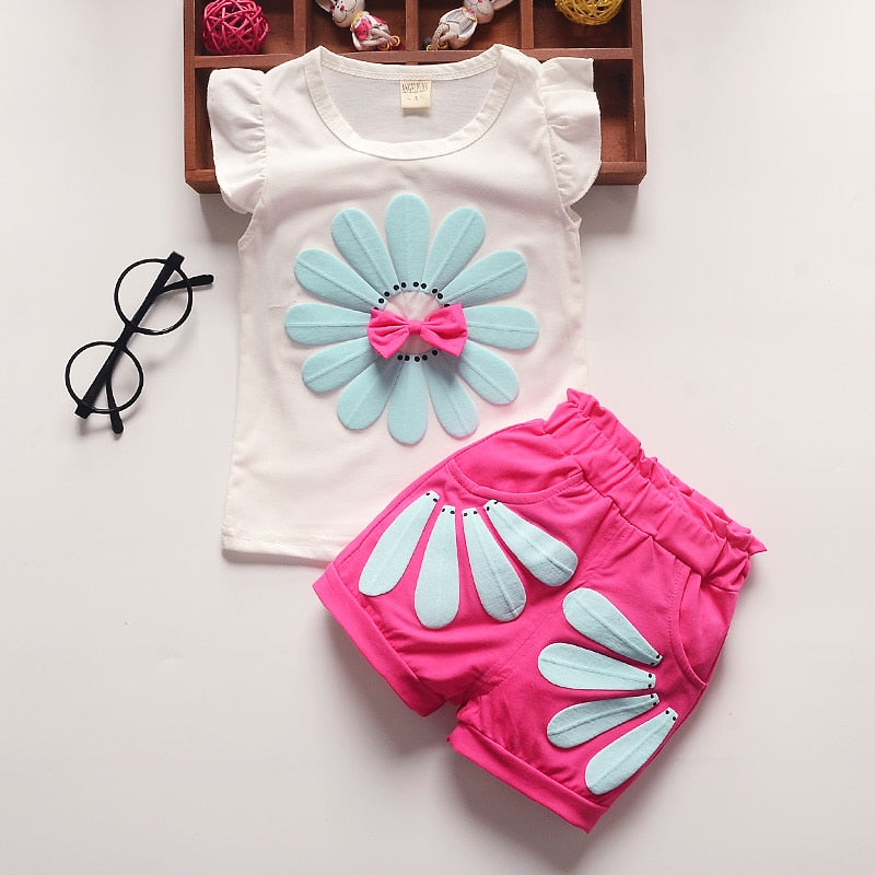BibiCola Summer Baby Girls Clothing Sets Toddler Girls Top Vest+Shorts 2pcs Clothes Suit Kids Sport Suit for Girls Clothing-eosegal