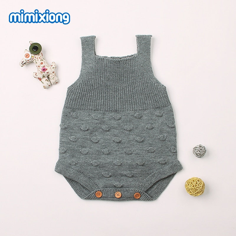 Overalls For Newborns Summer Knitted Bodysuits Fashion Dots Crocheted Baby Girls Strap Sunsuits Grey Children's Suits For Boys-eosegal