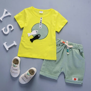 BibiCola 2018 newborn baby boys girls clothing set cartoon short sleeved t-shirts + pants casual infant baby set clothes summer-eosegal
