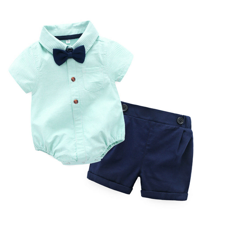 2018 Gentleman Baby Boy Clothing Sets cotton baby striped bodysuits +shorts+bow tie Suit short Sleeve Kids Boy Sets kids clothes-eosegal