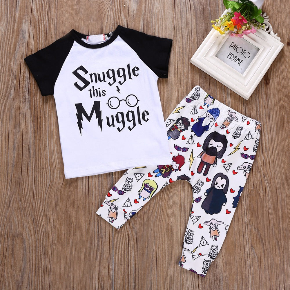 2018 Summer Infant Toddle kids Baby Girls Clothes New arrival Snuggle This Muggle Top T-shirt +Pants 2pcs Outfit Clothing set-eosegal