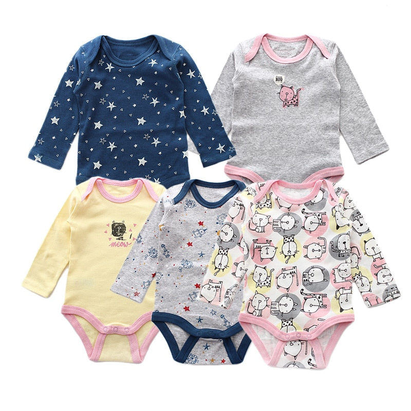 5 Pieces/lot Baby Rompers Newborn Jumpsuits Baby Boy Clothes Cotton Long Sleeve Girls Clothing Set Autumn Infant Romper-eosegal