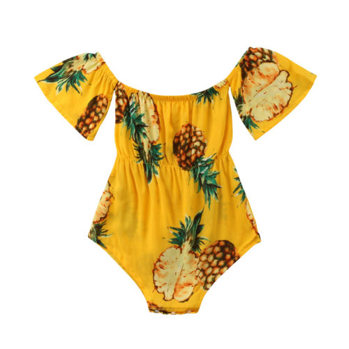 Toddler Infant Baby Girl Boy Kid Off Shoulder Shortsleeve Pinapple Jumpsuit Bodysuit Playsuit Cotton Clothes Baby Girl 0-24M-eosegal