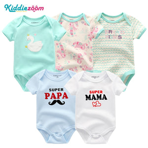 5PCS/Set Newborn Baby Rompers Boy Playsuit Clothes 100% Cotton Striped Cute Jumpsuit Infant Girl Body Romper Clothing for 0-12M-eosegal
