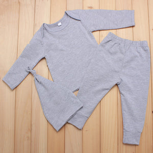 Seartist Newborn Clothing Sets Infant 3 Pcs Sets T Shirt +Pants+Hats Baby Boys Autumn Plain Color Gray Clothing Set 2017 New 30C-eosegal