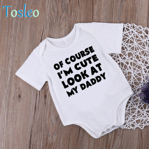 2018 Funny Baby Bodysuit Summer Baby Clothes White Cotton Onesie Bodysuit for Toddlers Letter Printed-eosegal