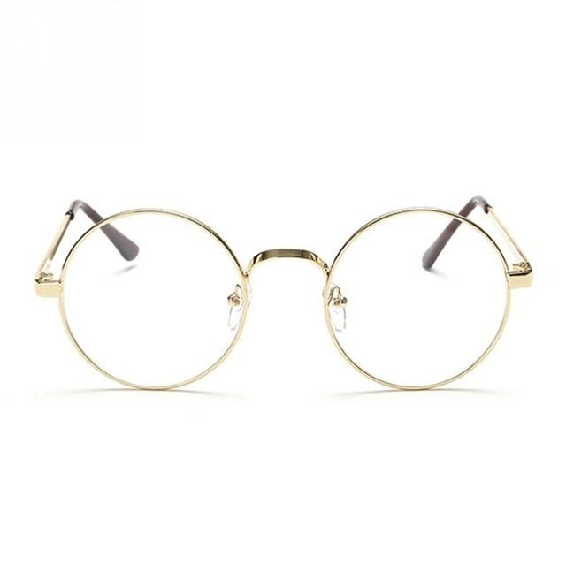Hot Retro Oversized Korean Round Glasses Frame Clear Lens Women Men Goldeosegal-eosegal