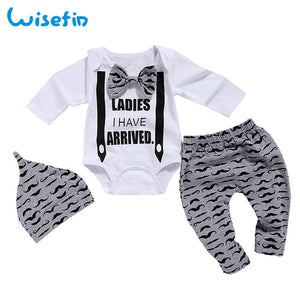 Wisefin Newborn Clothing Set Baby Boys Set 3Pcs Bow Tie Infant Clothes 0-18 Months Moustache Print Cute Long Sleeve Baby Set-eosegal