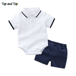 Top and Top Baby Boy Clothing Set Summer Cotton Short Sleeve Romper Tops+Shorts Infant Boys Outfits Toddler Boy Clothes-eosegal