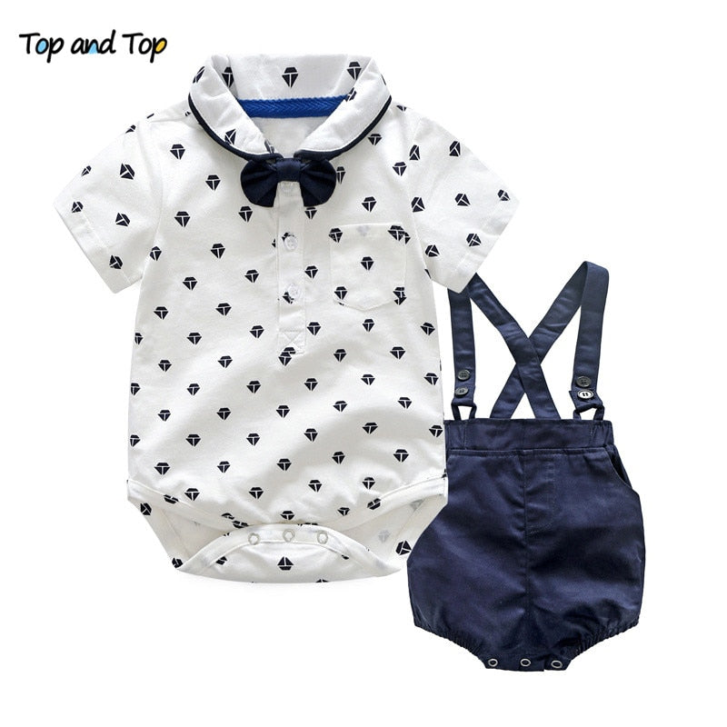 Top and Top Summer Toddler Boy Clothes Gentleman Boy Clothing Set Bow Tie Romper Top+Straps Shorts Boys Wedding Party Clothes-eosegal
