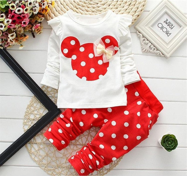 Newborn Baby Girl Clothes 2018 Spring Autumn Polka Dot Long Sleeved T-shirt + Pants Outfit Kids Bebes Tracksuits Jogging Suits-eosegal